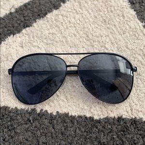 Quay Vivienne Black Metal Aviator Sunglasses
